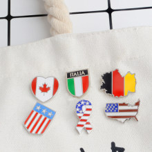 Germany Canada Italy America Flag Map Brooch Enamel Pin Badge Stars Stripes Brooch for Women Men Hat Bag Shirt Collar Lapel Pin(China)