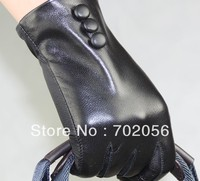 FASHION Button Design Five Finger Leather Half Palm Gloves Leather Half Palm Gloves Lambskin 12pair Lot
