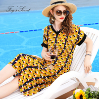 2019 Nature Real silk Print dress For Women V Neck Elegant Large size Thin Loose dresses