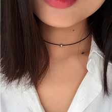 Hot New Torques Bijoux Pure black braided leather cord necklace Maxi statement necklace Chokers Necklace for women x14(China)