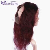 Beau Diva предварительно Цветной бордовый 360 Кружева Фронтальная застежка 22*4*2 объемная волна Band 100% человека волос предварительно сорвал для во