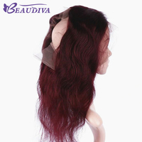 Beau Diva Pre-Colored Burgundy 360 Lace Frontal Closure 22*4*2 Body Wave Band Remy Human Hair Pre Plucked Baby Hair