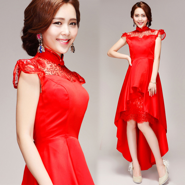 Backlakegirls Винтаж асимметричный с высокой горловиной вечернее платье элегантной вышивкой цветы красный безрукавые вечерние платья 2018 г. Лидер продаж