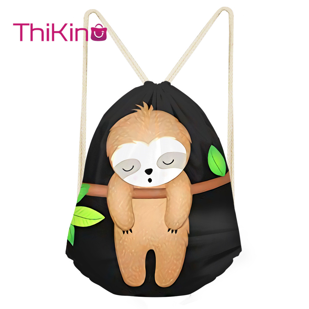 Thikin girls Cute Sloth Casual Sack Drawstring Bag for Women Travel Backpack Toddler Softback Lady Beach