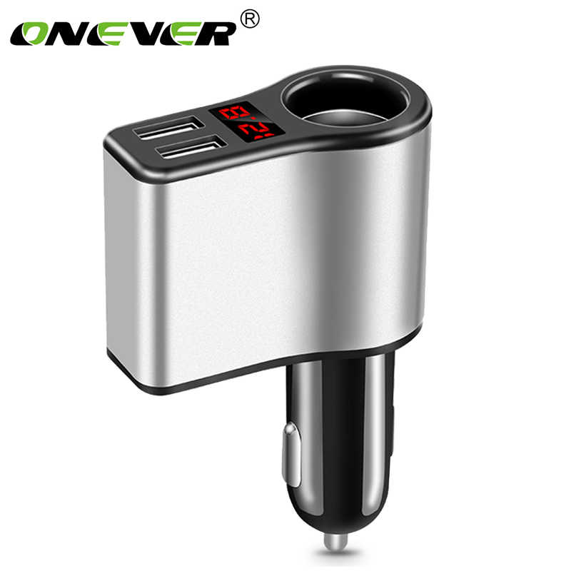 Dual USB Car Cigarette Lighter Socket Splitter Plug 5V 3.1A Car Charger Adapter Voltage Monitor Power Adapter for Smart Phone
