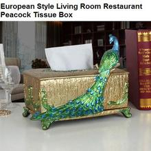 European style living room restaurant peacock tissue box creative ornaments decorated square resin retro tissue box