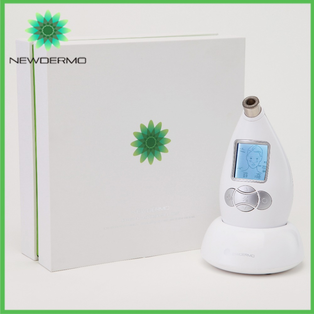 White NEWDERMO New Arrival Dermabrasion Machine Silver Beauty Handheld Equipment Face Cleansing Tool deep face cleansing brush facial cleanser 2 speeds electric face wash machine
