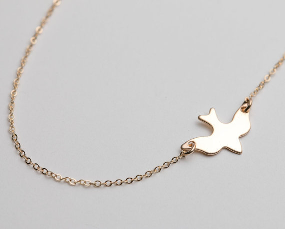 30PCS- N107 Fashion Tiny Soar Flying Bird Necklace Little Swallow Baby Bird Necklace Peace Dove Necklaces Abstract Necklaces Ожерелье