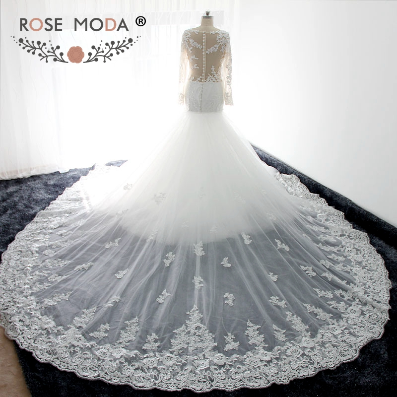 Rose Moda Gorgeous Long Sleeves Lace Mermaid Wedding Dress With Removable Royal Train Illusion Back Real Photos In Dresses From Weddings Events On