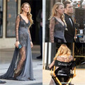 Blake Lively Red Carpet Celebrity Dresses 2016 Long Sleeve Lace Evening Gowns