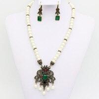 Vintage Kadınlar Küpe Kolye Takı Seti Türk Kanca Uzun Çiçek Küpe Arap Reçine Boncuk Kolye Antik Altın Renk Bijoux