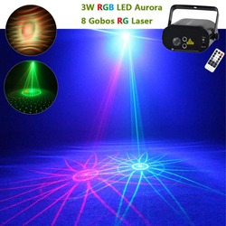 Mini 8RG Pattern Remote Laser Lighting Water Galaxy RGB LED Projector Lamp Family Party DJ Chrisma Show Club Stage Light Effect