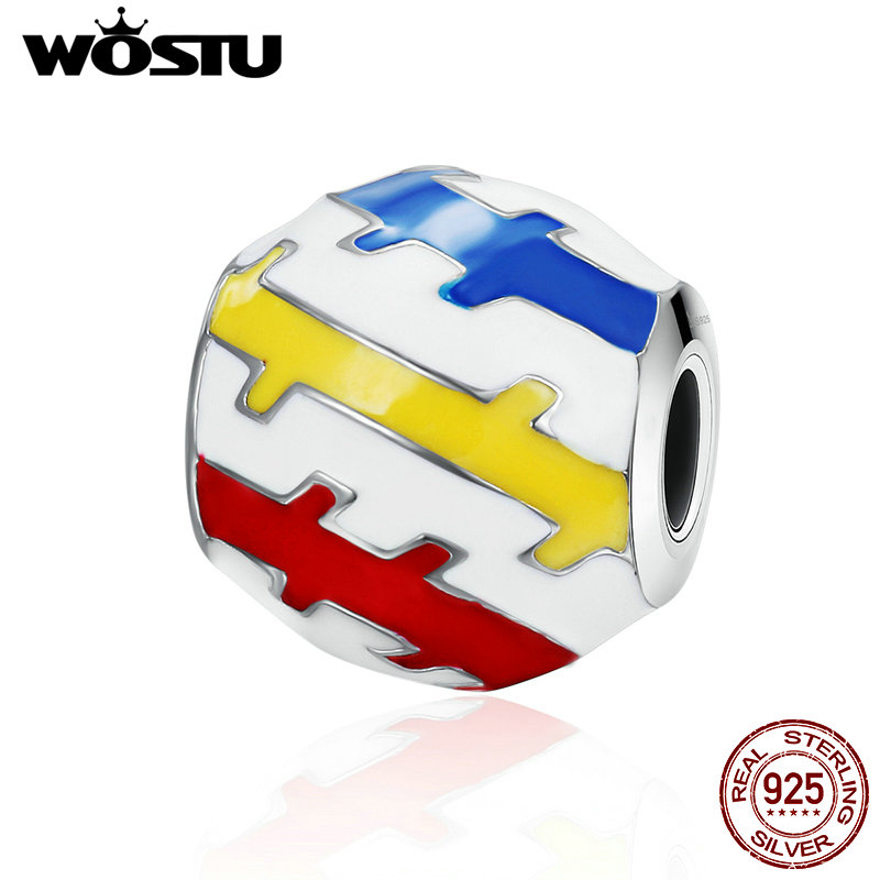 WOSTU 925 Sterling Silver Beautiful Youth Colorful Exquisite Beads fit original WST Charm Bracelet DIY Jewelry Gift CQC275