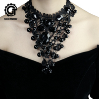 2019 Vintage Black Lace Choker Necklace Charm Ribbon Wedding Collar Jewelry Hollow Short Chain Jewellery
