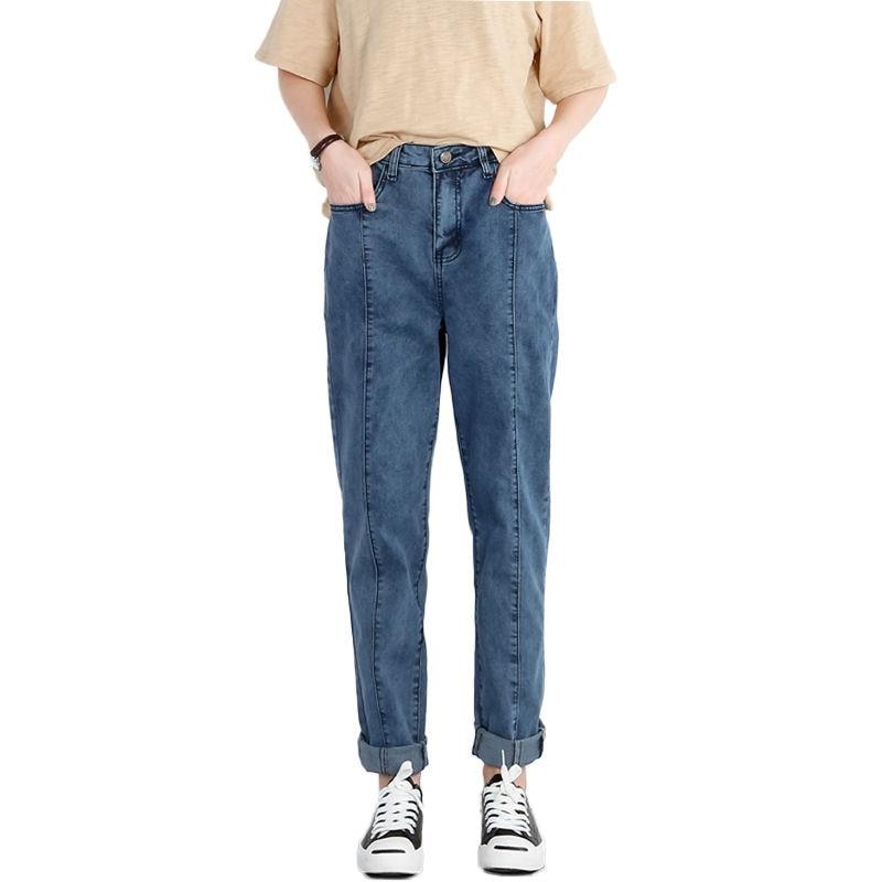 NEW 2019 Spring Jeans Woman Denim Blue Long Pants High Waist Jeans Femme Vintage Boyfriend Jeans For Women Plus Size 5XL C3867