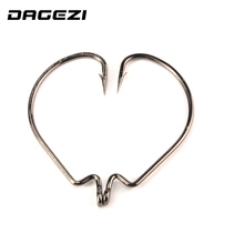DAGEZI 2017 Hot 100pcs/lot black High carbon Steel Fishing Hooks Crank Lead Sharp Hooks 9 Sizes super big black Wide crank hook