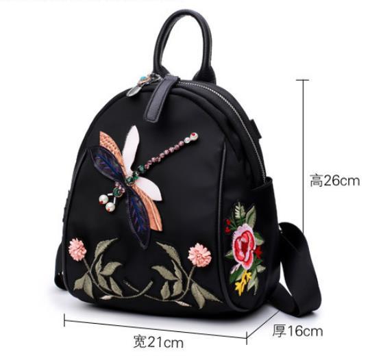 Vintage Handmade Rhinestone Floral Embroidered Backpack women Fashion Nylon waterproof travel mochila kanken backpack 3