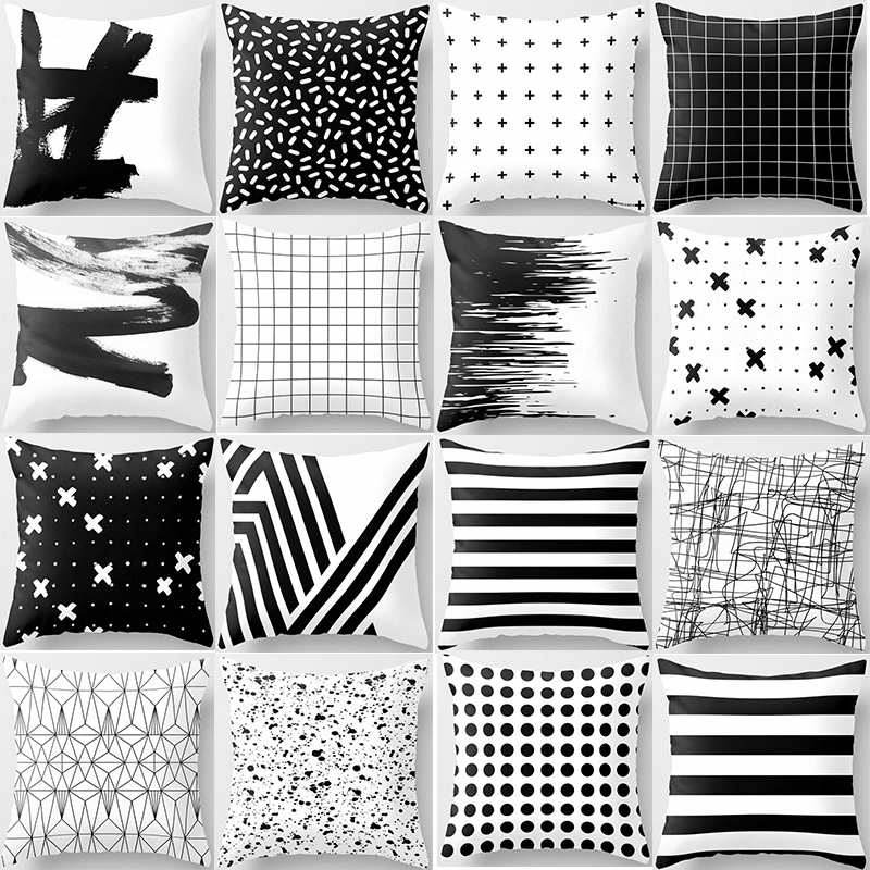 Double Sides Pattern Geometric Pillow Cases  Fashion Beauty  Black White Gray  Square Pillow Cases Home Pillow Cover 45*45cm
