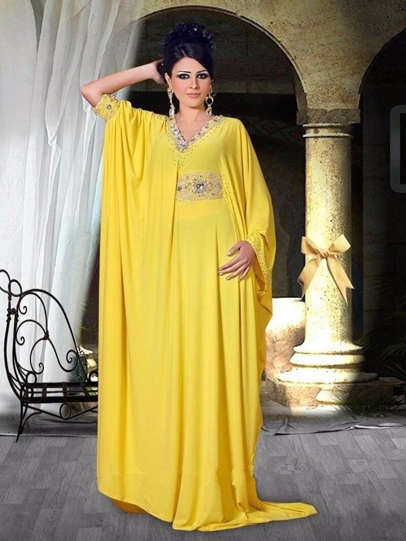 Custom Made Musulman Robes De Soirée Jaune Col V À Manches Longues En Mousseline de Soie