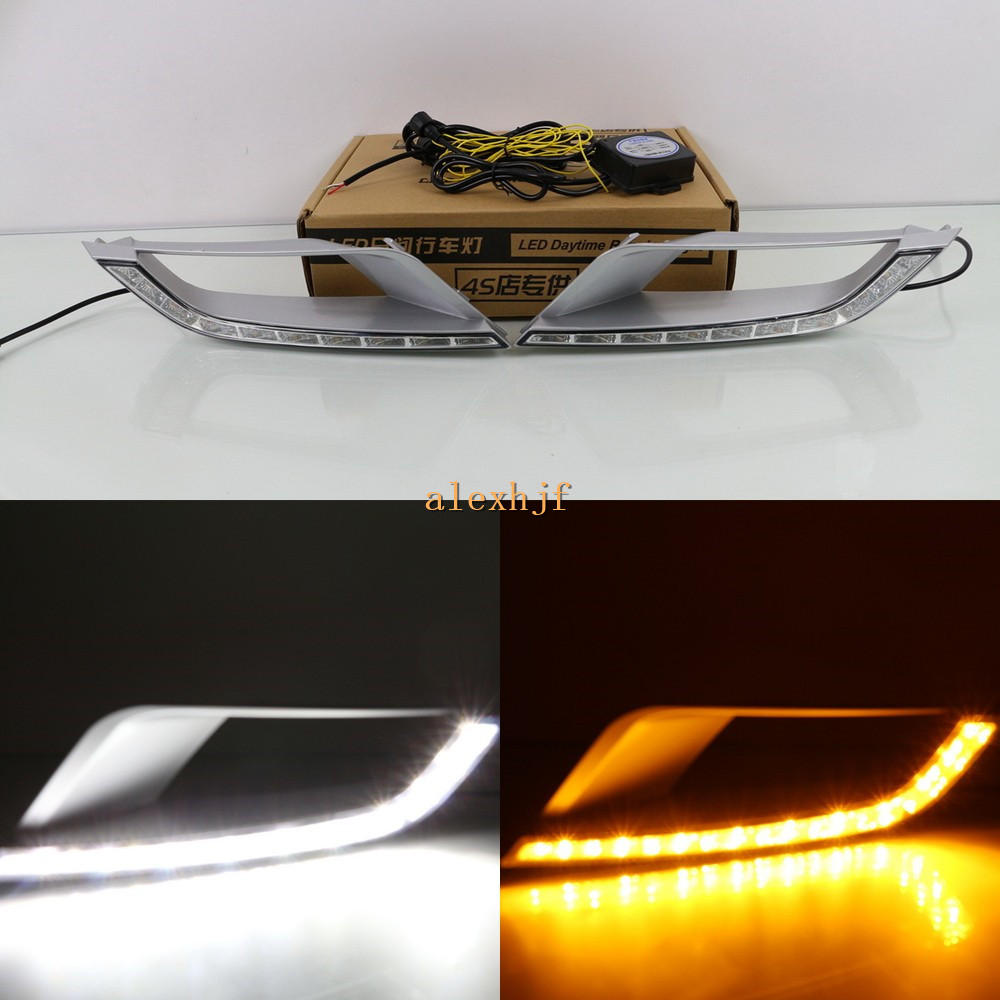 July King LED  Daytime Running Lights DRL Case for Ford Ranger Wildtrak 2015+, LED Front Bumper Fog Lamp With Yellow Turn Signal ijdm amber yellow error free 2835 led 1156 p21w led bulbs for car front or rear turn signal lights daytime running lights
