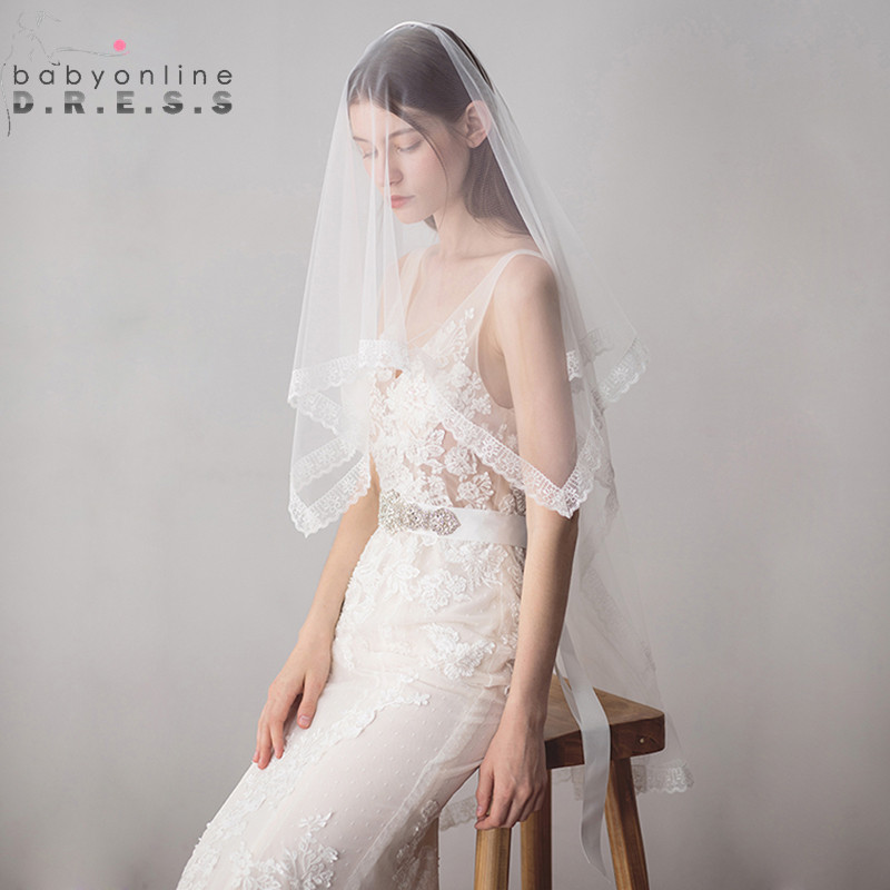 Ivory Wedding Veil Comb Tulle Lace-Edge Soft One-Layer New-Arrival With Cheap Veu-De-Noiva