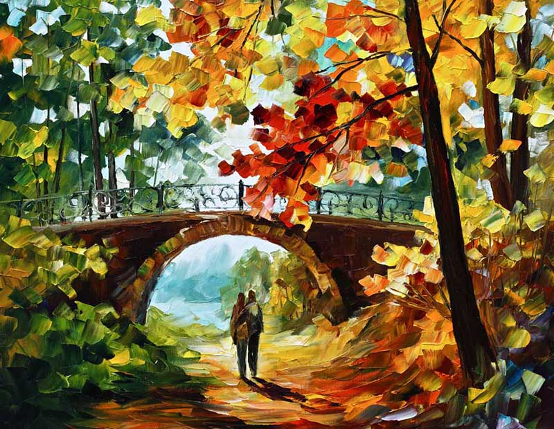hot sale about The bridge lover Modern wall paper for home decor oil painting printed on canvas for coffee and bar RZ045