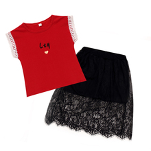 2019 summer girls sets fashion letters short sleeve cotton kids girl for 2 pieces t shirt and yarn lace skirt suits