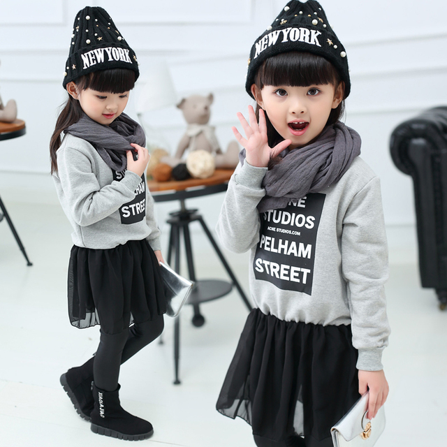 New Spring Autumn Baby Girls Clothes Girls Hooded Long Fleece sweatershirt Patchwork Skirt Veil Children Clothing Casual Top