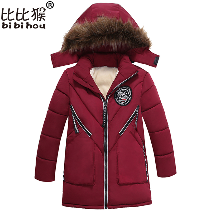 Bibihou Boys girls Winter Coat Padded Jacket Outerwear Fashion Hooded Thick Warm Children Parkas Overcoat High Quality 2017 New children winter coats jacket baby boys warm outerwear thickening outdoors kids snow proof coat parkas cotton padded clothes