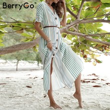 5f7a9bda74a1c BerryGo kadın elbiseler yaz uzun gömlek elbise Çizgili Düğmeler kısa kollu  artı boyutu plaj elbise Zarif