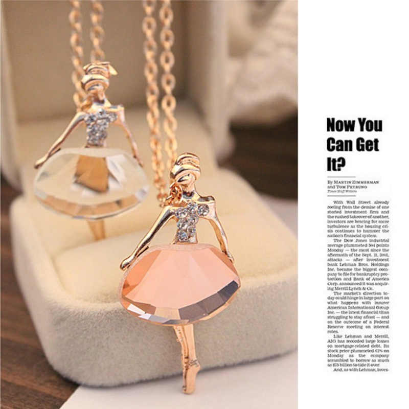 Fashion lady love ballet girl necklace wind  Crystal over drilling sweater chain necklace for women jewelry wholesale Hot