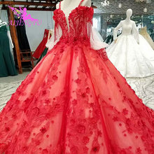 AIJINGYU זול שמלות כלה תמונות אמיתיות דיסקונט שוויץ סקסי בציר שמלה עם שרוולים ויקטוריאני חתונה שמלה
