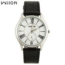 WILON hombres de negocios de marca relojes segundero independiente ligero genuino reloj de cuero rosa de oro números romanos relojes