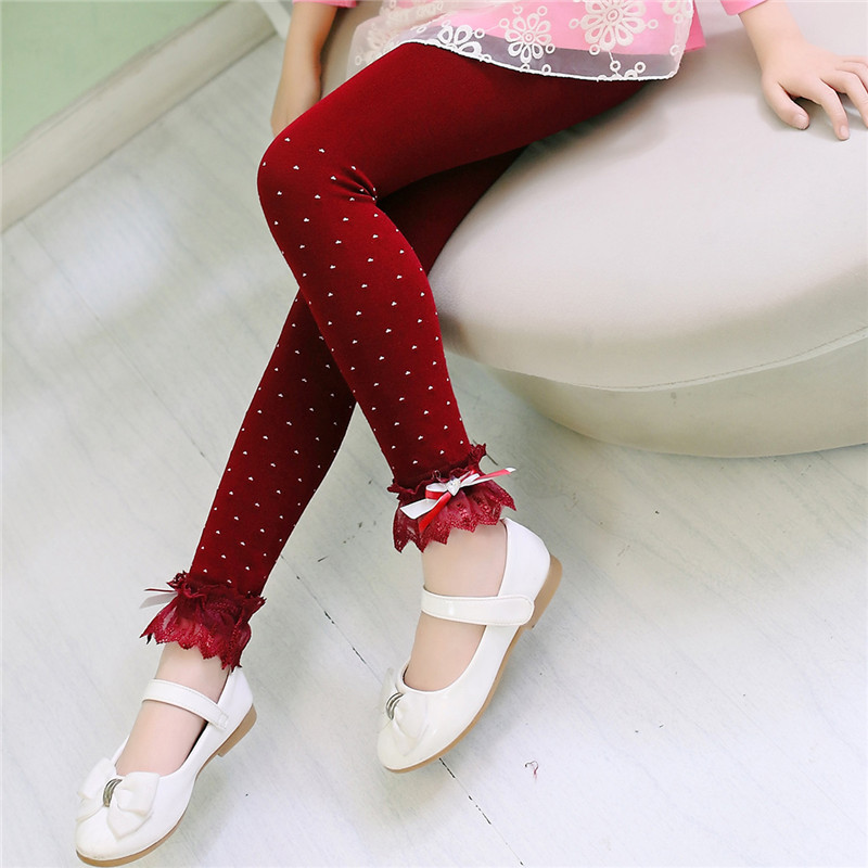 2016 Spring children leggings girls pantyhose lace decoration pants kids Korean lace warm leggings children font