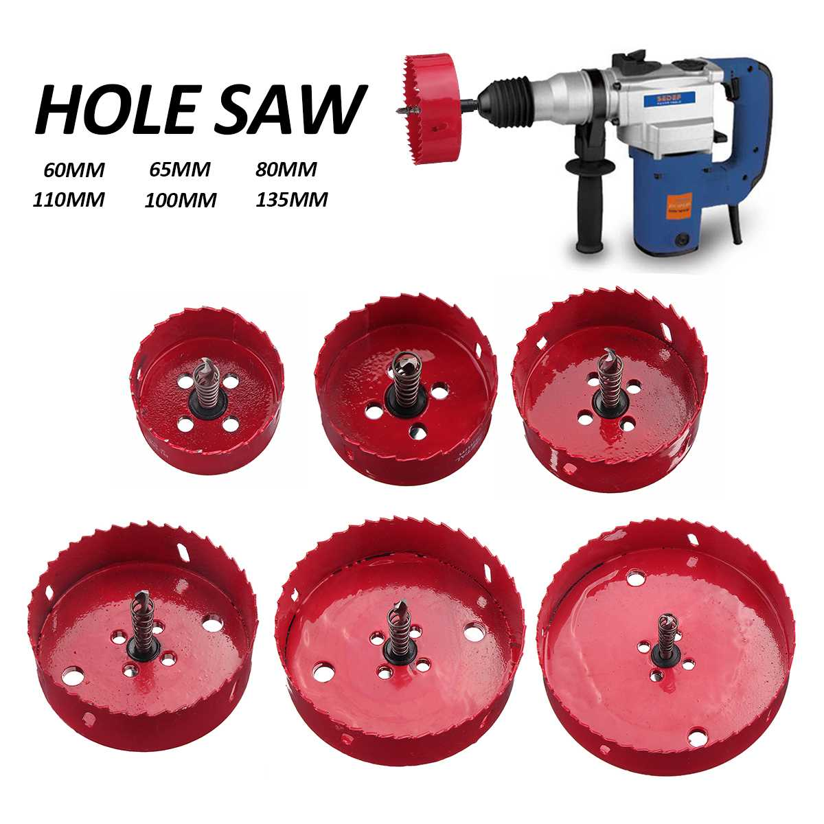 60-135mm M42 Metal Opener Wood Hole Saw Cutter Bit Holesaw Cutting Kit Drill Bit Set For Woodworking Iron Pipe DIY Tool Bit
