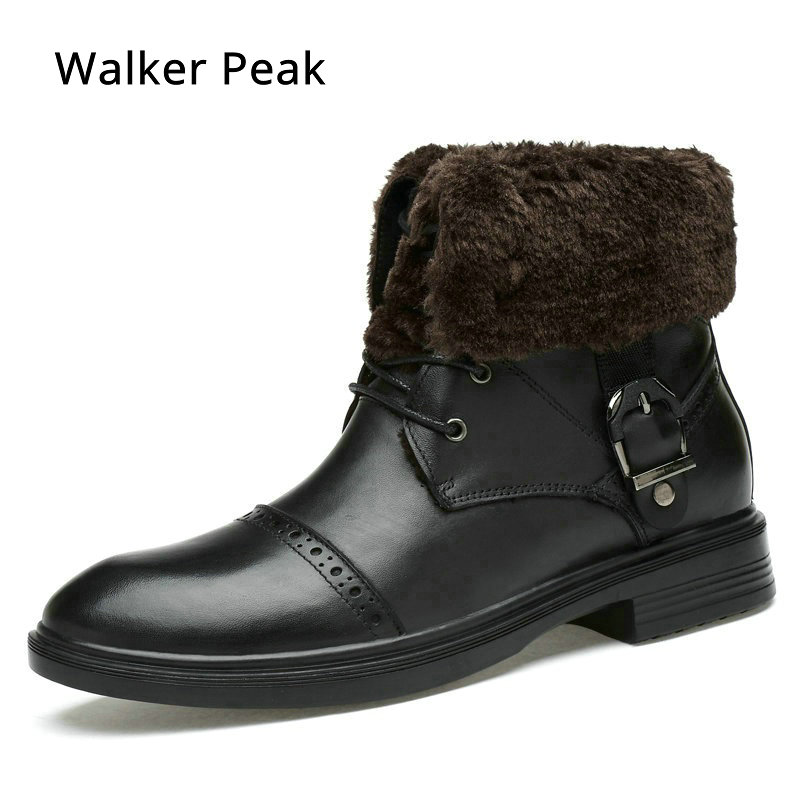 Brand Motorcycle Warm Winter Shoes for men Genuine Leather Mens Ankle Boots Rubber Snow Boots Casual Shoes For Men Walker Peak
