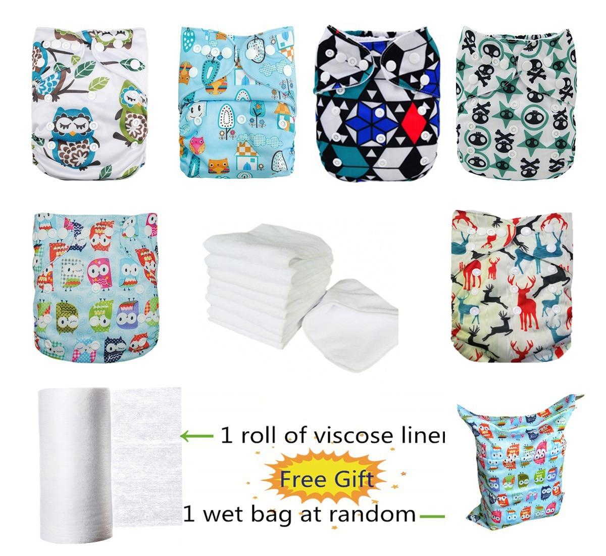 6 pièces lavable étanche boutons-pression réglable bébé couche-culotte en tissu avec 6 Inserts