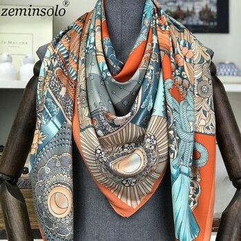 51a43acfd54c6 Fashion Design Platz Silk Schal Frauen Foulard Gedruckt Bandana Damen Schal  Hijab Elegante Stirnband Ring Schals Wraps 130*130 cm