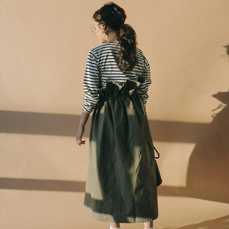 LANMREM 2019 New Pattern Pure Cotton Green Wide Long Skirts Ruffles High Waist Lace-up Pleated Women Fashion Korea Bottoms WA927
