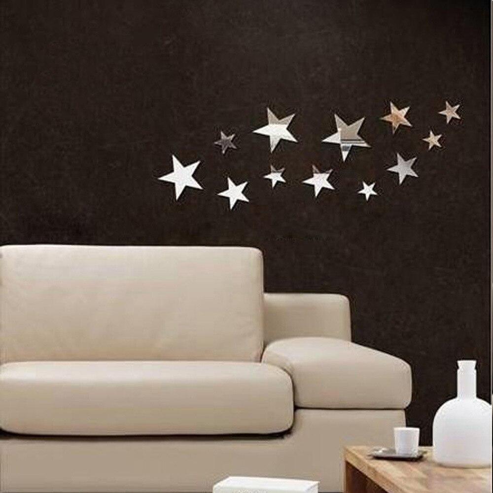 Star Mirror Wall Decor aliexpress : buy 12 pcs/set fashion home decor mirror wall