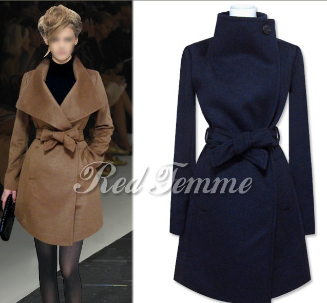 5c6019ef97be Fashion Wool Coats Women Autumn Winter European and American Style Simple  Elegant Lapel Coat Ladies Woolen Blend Trench Coats-in Wool   Blends from  Women s ...