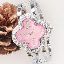 Бесплатная доставка известная марка класса люкс Для женщин Часы леди счастливый клевер платье часы горный хрусталь полный кристалл браслет из бисера Шарм