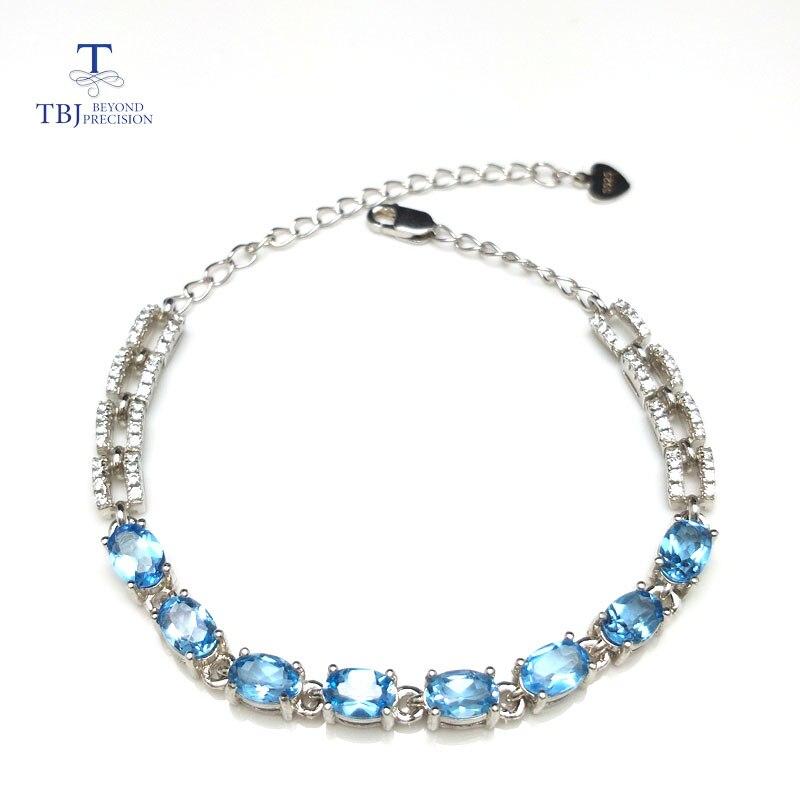 TBJ, bracelet classique naturel avec topaze naturelle de bonne couleur en argent sterling 925 bracelet élégant en pierres précieuses pour les femmes en cadeau