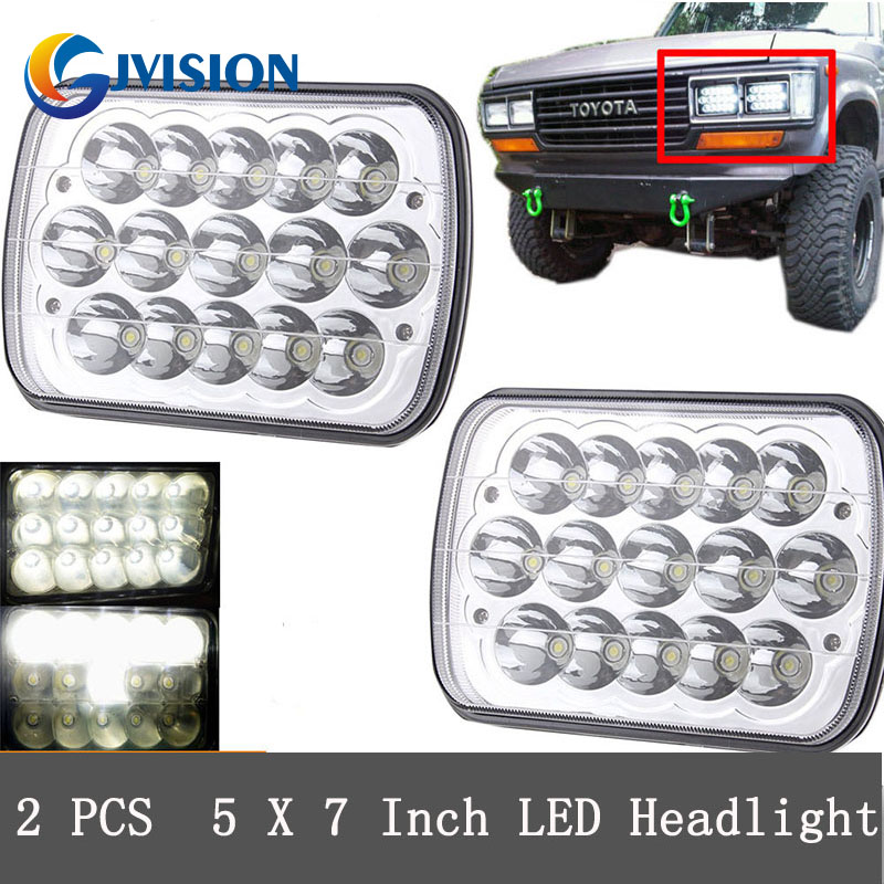 For Jeep Cherokee H6054 H5054 H6054LL 69822 6052 6053 5inch x 7 inch Dual Beam Crystal H4 Square led headlights 5 x7 6 x7 high low beam led headlights for jeep wrangler yj cherokee xj h6054 h5054 h6054ll 69822 6052 6053 with angel eye