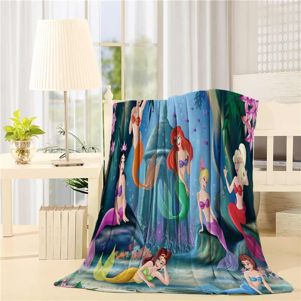 Custom Creative The Little Mermaid Flannel Throw Blanket Lightweight Cozy Bed Sofa Blankets Super Soft Fabric