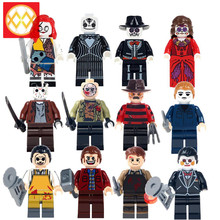 Horror Movie Jason Voorhees Friday the 13th Freddy Edward Scissorhands Walking Dead Sally Jack Building Blocks Toys For Children(China)