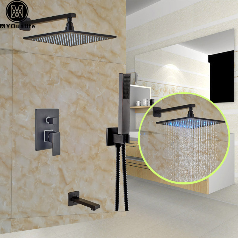 Single Handle 10 LED Light Shower Set Faucet Wall Mount Bath Tub Spout Shower Mixer Taps + Handshower