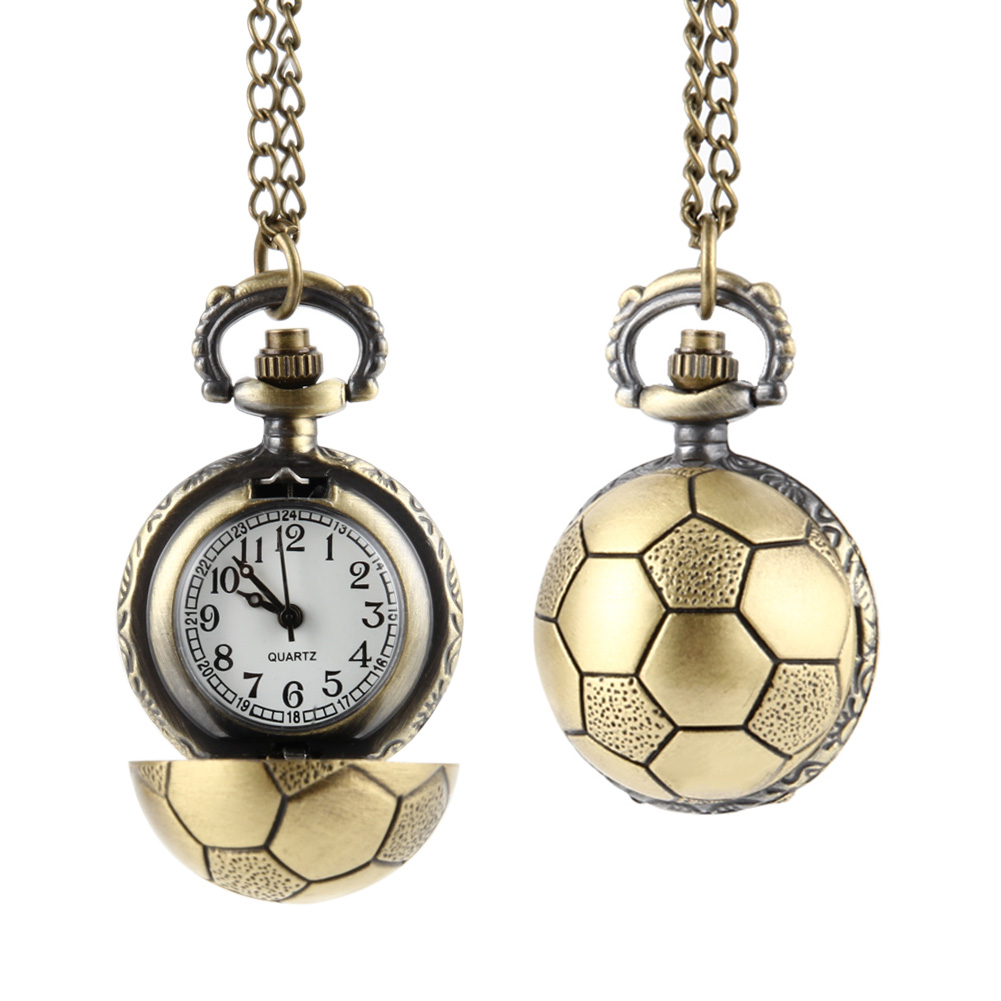 Retro Soccer Ball Shape Bronze Round Quartz Pocket Watch With Chain Necklace Jewelry Gifts LL@17