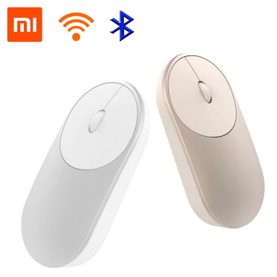 лучшая цена Xiaomi Mi Wireless Mouse Portable Game Mouses Aluminium Alloy ABS Material 2.4GHz WiFi Bluetooth 4.0 Control Connect Golden