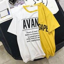 Korean Women T Shirt Letter Printing Patchwork t-shirts Casual Loose Comfortable Short Sleeve O-neck harajuku Summer Female Tees